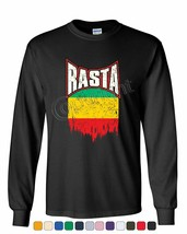 Distressed Rasta Flag Long Sleeve T-Shirt Smoking 420 Reggae Marijuana W... - $10.96+