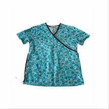 SB Scrubs Nursing Scrub Top Small Blue Snowflakes winter pediatrician  - $10.50