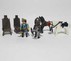 Playmobil Medieval Figure Lot 4505 King Knight Throne Horses 1993 - $32.66