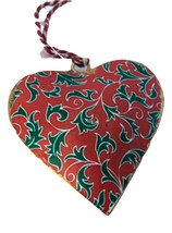 Holly  Heart Ornament-Set of 6-Holiday! - $14.24