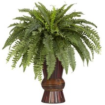 Nearly Natural 6628 Boston Fern with Bamboo Vase Decorative Silk Plant, ... - $108.65