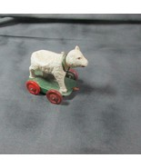 """Vintage 1920's Celluloid 3"""" Nodder Lamb on Tin Base and Wheels, as is - $21.51"""