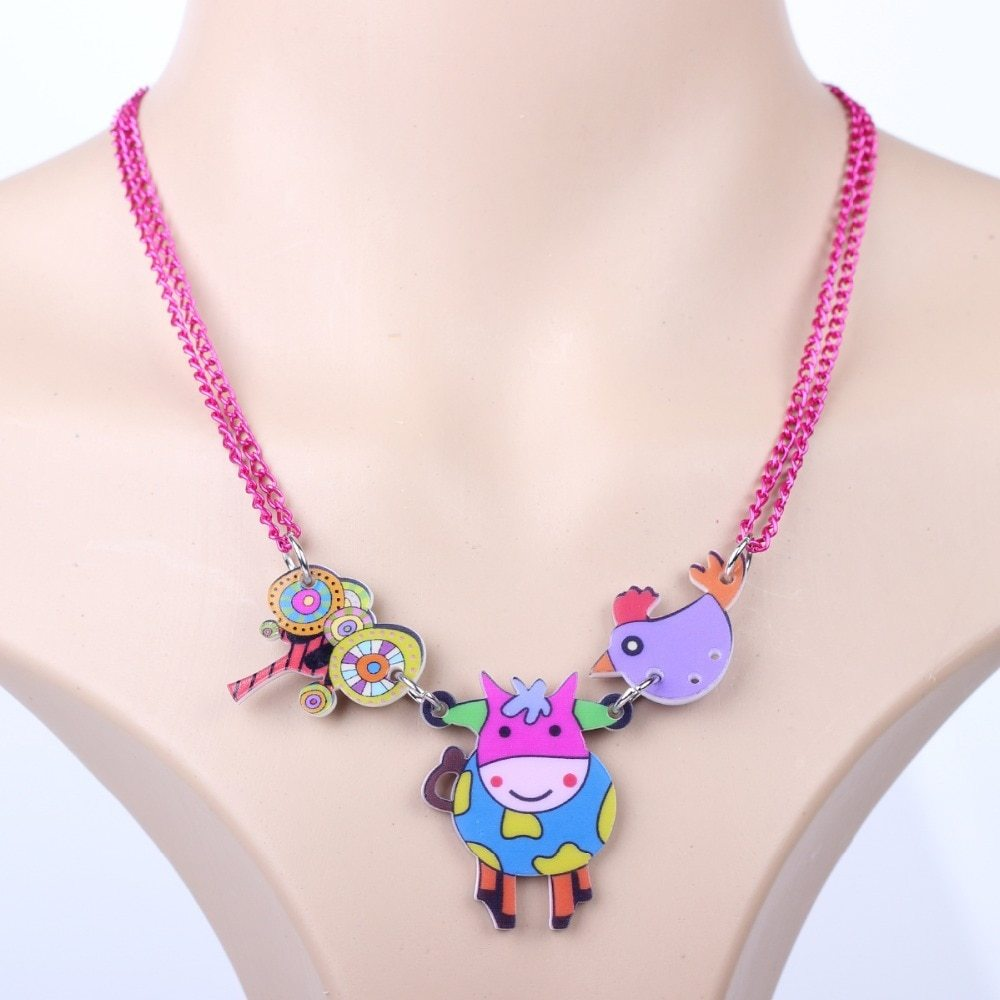 cow necklace pendant acrylic pattern 2016 news accessories spring summer cute an image 5