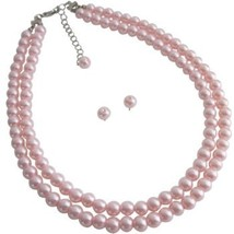 Adorable Double Stranded Pink Pearl Necklace With Stud Earrings Wedding ... - $19.40