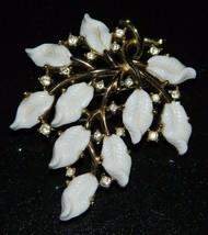 Vtg Crown Trifari Gold Tone White Lucite Leaf Flower Rhinestone Pin Brooch - $74.25