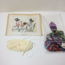 """Flowers with Butterflies Needlepoint Canvas Yarn Shariane Designs 7.5"""" x... - $19.34"""