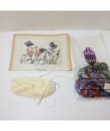 "Flowers with Butterflies Needlepoint Canvas Yarn Shariane Designs 7.5"" x... - $19.34"