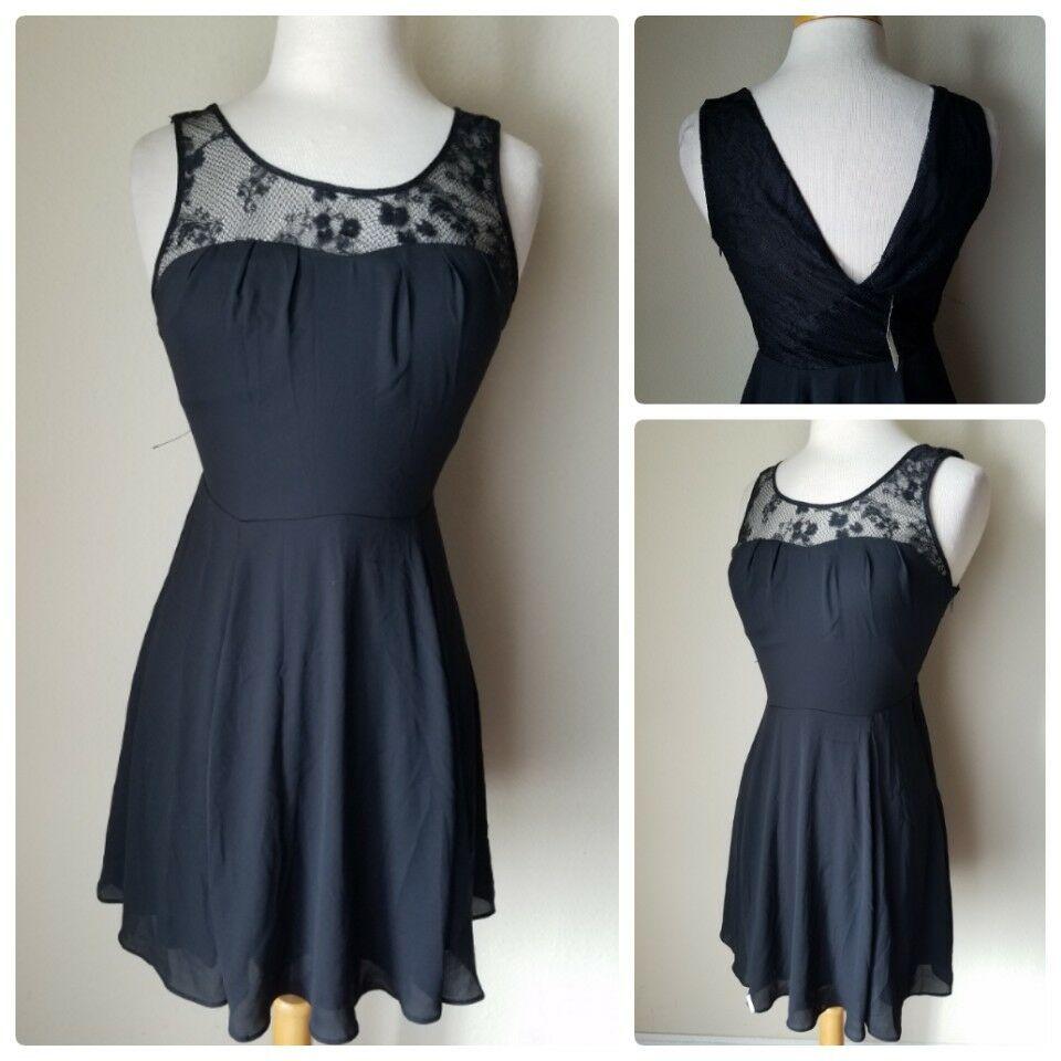 NWT Express Women's Cocktail Dress Black Lace Top Sleeveless Mini Empire Waist 4 - $25.16