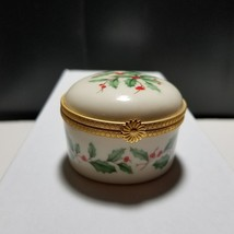 Lenox Holiday Holly Round Hinged Trinket Box w/ Gold Trim - $14.01