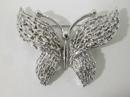 Vintage Trifari Butterfly Brooch Pin Silver Tone Textured Signed  - $32.99
