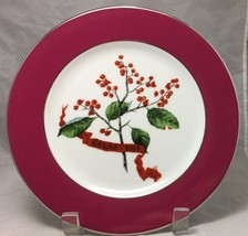 """Celastrus Red Green Silver rim 8"""" salad plate by Williams-Sonoma Home  Portugal - $7.87"""