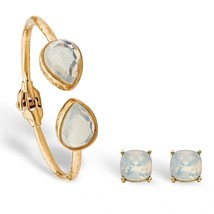 "PalmBeach Jewelry Simulated Opal Gold Tone 2-Pc. Earrings & Bracelet Set 7.75"" - $19.99"