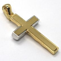 Cross Pendant Yellow Gold White 750 18k, Finely Worked, Waves, Wavy image 3