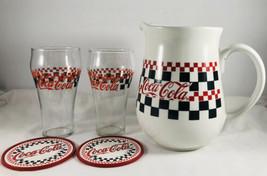 COCA COLA COKE Set Black Red White Check Gibson Ceramic Pitcher glasses,... - $44.55