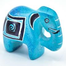 Crafts Caravan Hand Carved Sky Blue Soapstone Elephant Figurine Made in Kenya