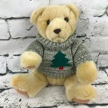 Hallmark Teddy Bear Plush Tan Sitting Soft Stuffed Animal Wearing Tree S... - $7.91