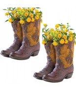 Lot of 2 Boot Planter Western Party Wedding Centerpieces Table Decor - $39.55