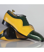Handmade Men Black & Yellow Leather Embroidered Laceup Oxford Shoes - $134.99+