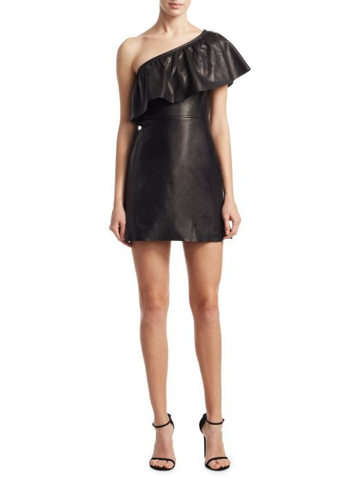 One-Sleeve women Leather Dress