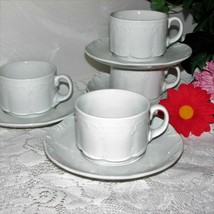 Rosenthal Monbijou Coffee Cup & Saucer 4 Sets Continental Classic Rose Germany - $76.95