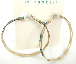 M Haskell Turquoise Blue Goldtone Statement Fashion Hoop Earrings - $13.33