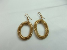 VINTAGE GOLD TONE textured PIERCED Drop/Dangle Earrings FASHION (O) - $8.12