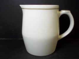Starbucks coffee ceramic milk frothing pitcher 2008 Off white brown band... - $9.70
