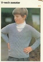 "Child's V-neck Sweater 26""-30"" Cavendish Crochet PATTERN/Instructions Le... - $0.90"