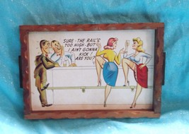Vintage Comedy Wood Drink Serving Tray 10x7 inches - $12.73