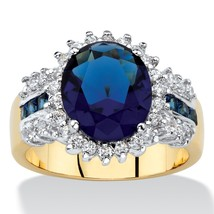 PalmBeach Jewelry .68 TCW Simulated Blue Sapphire and CZ 14k Gold-Plated Ring - $45.94