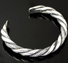 Mens Sterling Silver Bracelet Heavy Rope Style Bangle Chain Rider Hip Ho... - $180.58