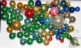 "Lot of 88 Vintage Mini Glass Christmas Ornaments 1/2"" to 1"" - $35.00"
