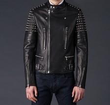 Handmade Mens Fashion Silver Studs Leather Jackets Fine stitching leather jacket - $229.99