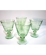 Retro Green Goblet Ikea Candle Holders Set of 4 Pressed Glass Flower Pattern - $11.88