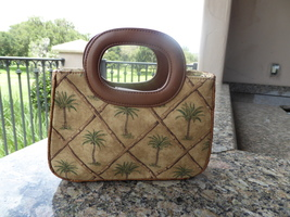 Fossil Small Tote Hobo Purse Handbag Palm Trees Canvas and Fiber Outer Shell - $12.00