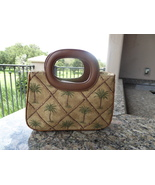 Fossil Small Tote Hobo Purse Handbag Palm Trees Canvas and Fiber Outer S... - $12.00