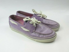 Sperry Women's Top-Sider Purple Lavender Sequin Lace Up Boat Shoes Size 7.5 - $25.74