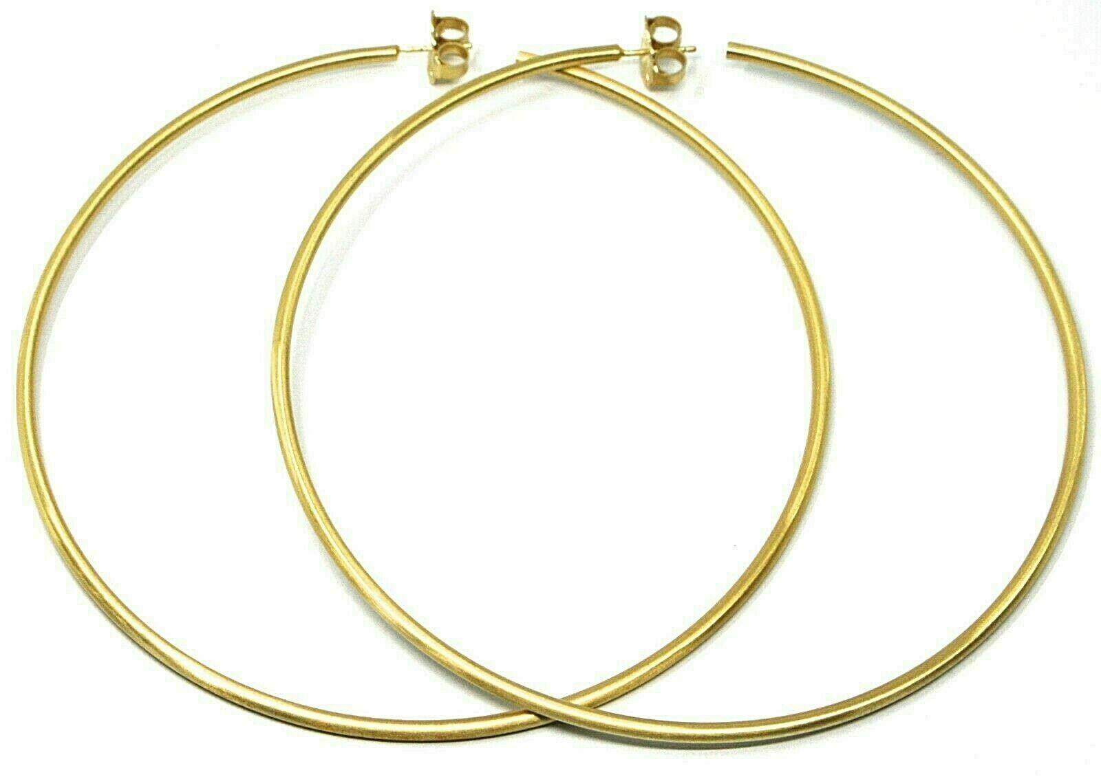 Silver Earrings 925 Circles Large Diameter 11 cm Thickness 2 mm Foiled Gold