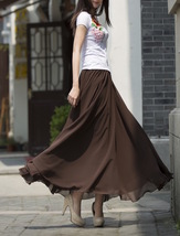 Women Chiffon Maxi Skirt Black White Brown Maxi Skirts Wedding Chiffon Skirt image 9