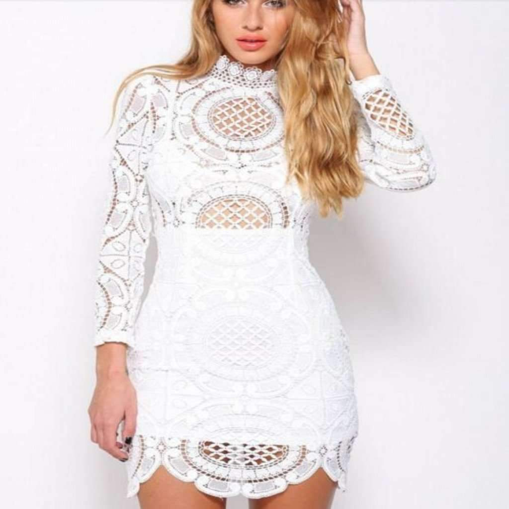 Daisy dress for less bodycon dress sexy white hollow out lace women dress 1410940043295