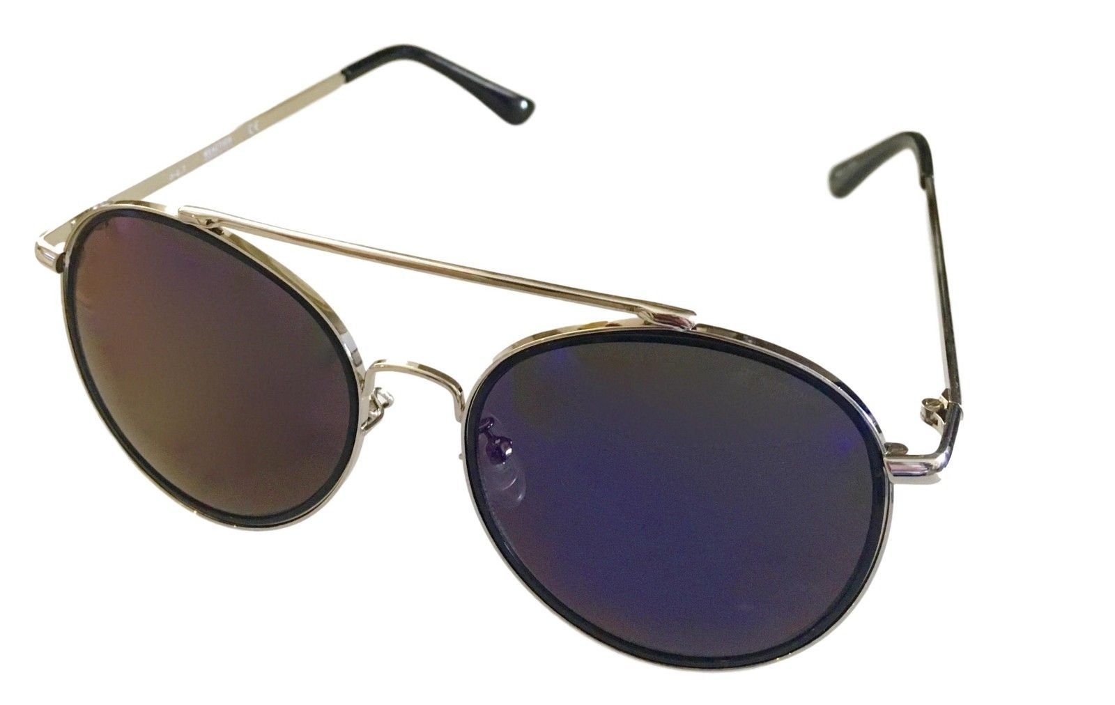 Kenneth Cole Reaction Mens Sunglass Round Silver Metal Blue Flash KC1313 10X