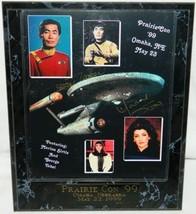 Star Trek George Takei & Marina Sirtis Autograph Photo Prairie Con 1999 Plaqued - $58.04
