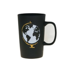 Starbucks Globe Earth Matte Black Dot Handle Ceramic Coffee Mug 16 oz - $47.11