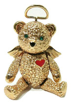 Vintage Angel Teddy Bear Articulated Signed Batya Pendant / Brooch Combo - $21.99