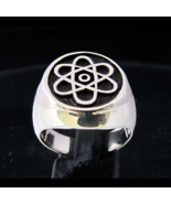Antiqued Sterling silver Symbol ring Atomic Nuclear Cloud high polished ... - $90.00