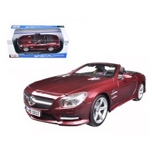 2012 Mercedes SL 500 Convertible Burgundy 1/18 Diecast Model Car by Mais... - $47.07