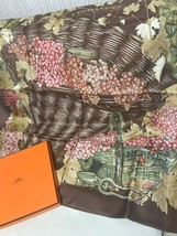 Hermes Carre 90 Scarf Stole VENDANGES Grape Silk Brown Woman New Unused ... - $498.48