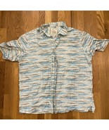 Tasso Elba Island Men's  XL Aqua Blue Mod Hawaiian Linen Blend Camp Aloh... - $24.74