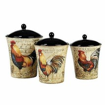 Susan Winget Gilded Rooster 3 Pc Ceramic Farmhouse Canister Set Rustic C... - $100.95