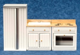 Dollhouse Miniature Appliance Set, 3 pc, White w/Oak Finish #T5321 - $52.99
